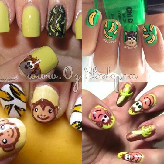 рисунки на ногтях на год Обезьяны